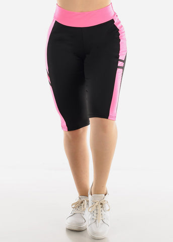 High Waist Black & Pink Biker Shorts