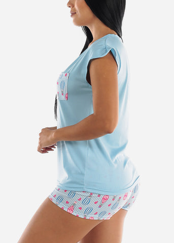 Light Blue Top & Shorts (2 PCE PJ SET)