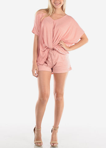 Image of Women's Junior Ladies Cute Casual Must  Have Super Soft High Waisted Loungewear Rose Cute Summer Stay Home Shorty Short Shorts