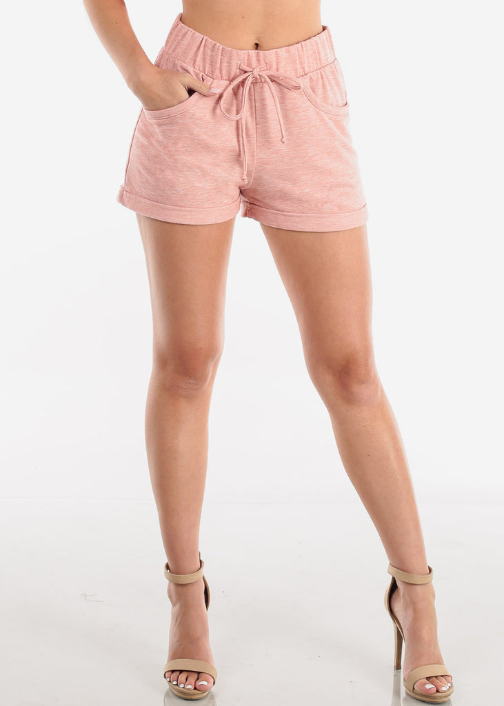 Women's Junior Ladies Cute Casual Must  Have Super Soft High Waisted Loungewear Rose Cute Summer Stay Home Shorty Short Shorts
