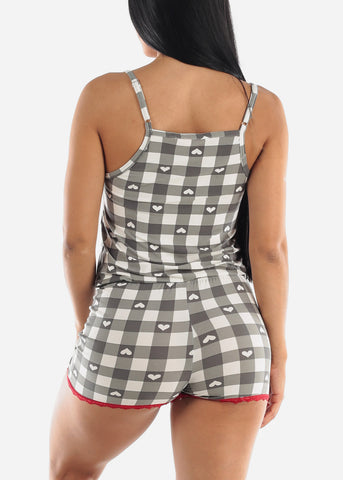 Plaid Hearts Sleep Romper