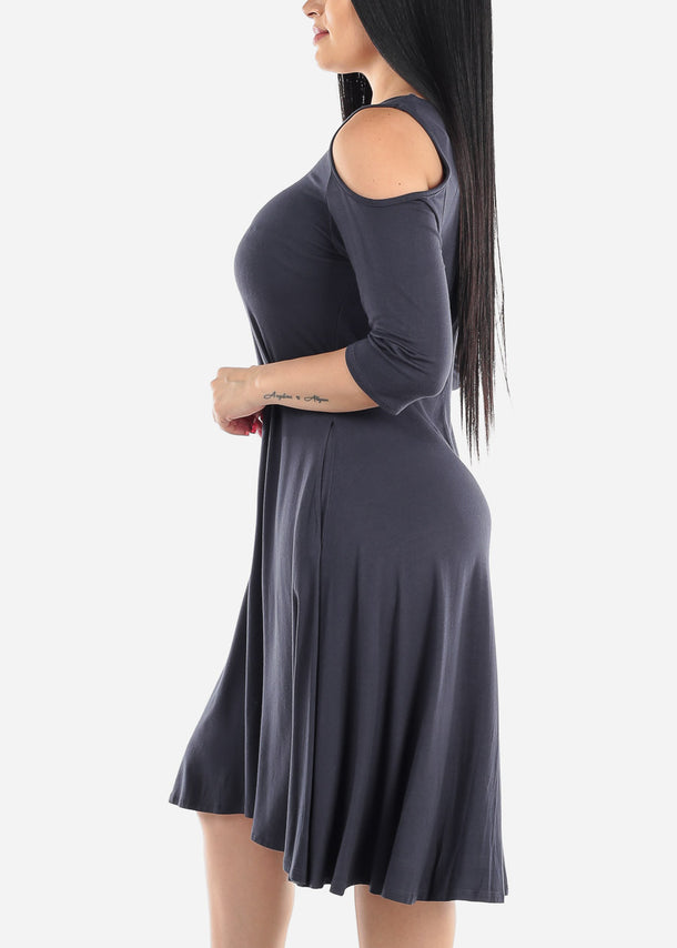 Cold Shoulder Charcoal Dress