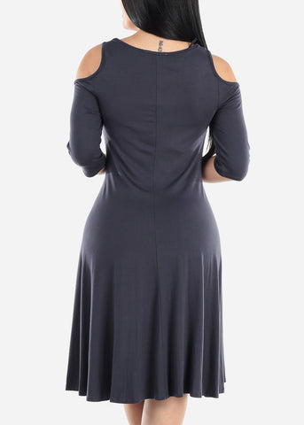 Image of Cold Shoulder Charcoal Dress