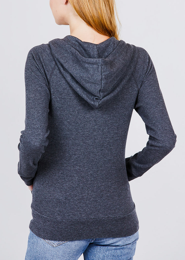 Long Sleeve Charcoal Thermal Hoodie
