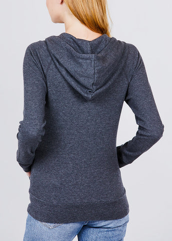 Image of Long Sleeve Charcoal Thermal Hoodie