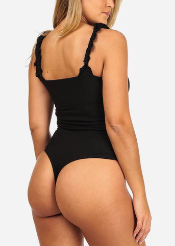 Image of Black Ribbed Bodysuit