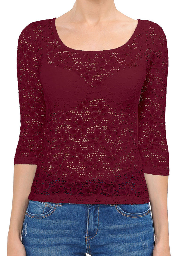 See Through Floral Lace Burgundy Top
