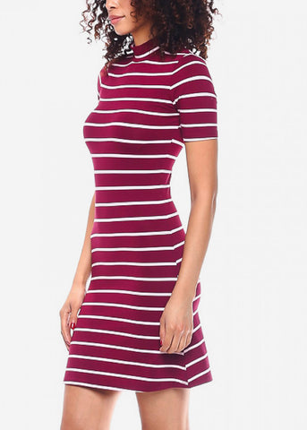 Image of Red Casual Striped Mini Dress
