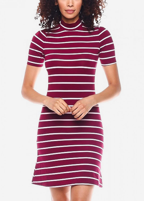 Red Casual Striped Mini Dress