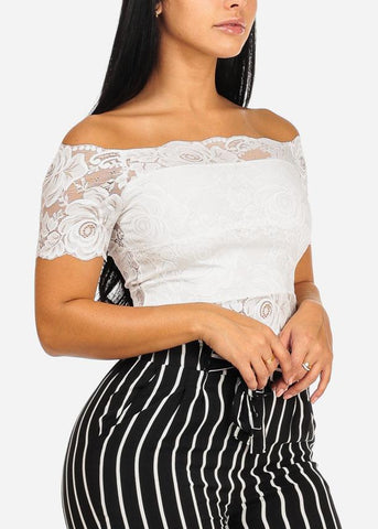 One Size White Floral Lace Crop Top