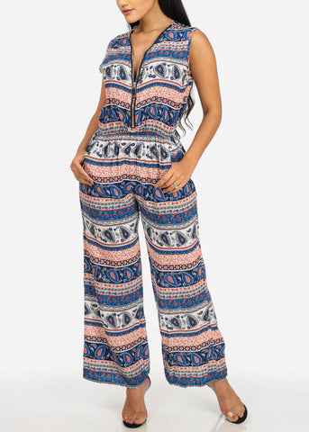 Navy and Orange Gold Zipper Jumpsuit