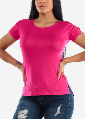 Image of Lace Sleeves Detail Fuchsia Top