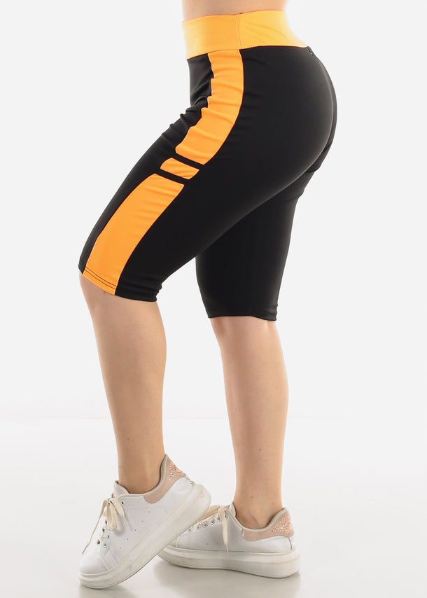 High Waist Black & Orange Biker Shorts