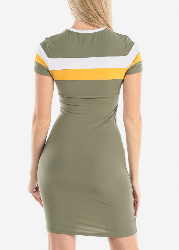 Multi Stripe Olive Bodycon Midi Dress