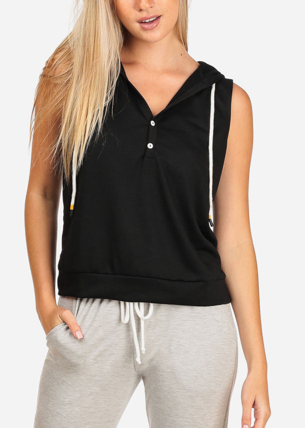 Women's Junior Ladies Casual Solid Color Sleeveless Sporty Sweatshirt Hoodies Hoody Solid Black Top W Hood