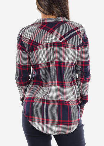 Image of Long Sleeve Multi Color Plaid Print Flannel Shirts Button Up Shirt Top For Women Ladies Junior On Sale Office Business Career Wear