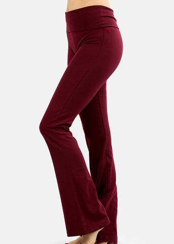 Fold Over High Rise Burgundy Yoga Pants