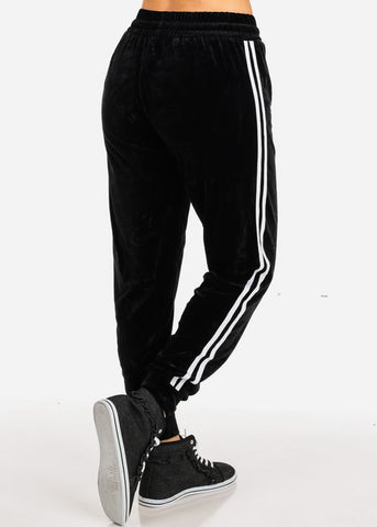 Plus Size Graphic Velour Black Drawstring Pants