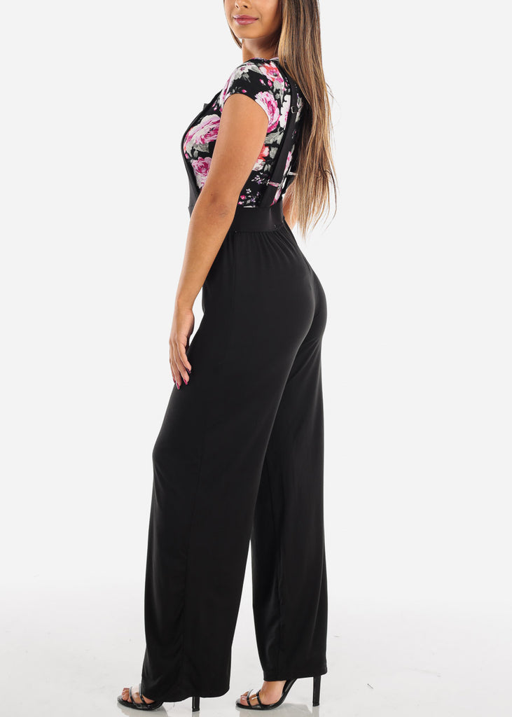 Sexy Trendy Sleeveless Super Stretchy Solid Black Overall Jumpsuit Wide Legged For Women Ladies Junior On Sale 2019 New