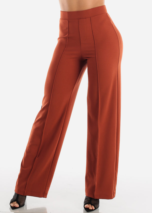 Wide Legged Brick Dressy Pants