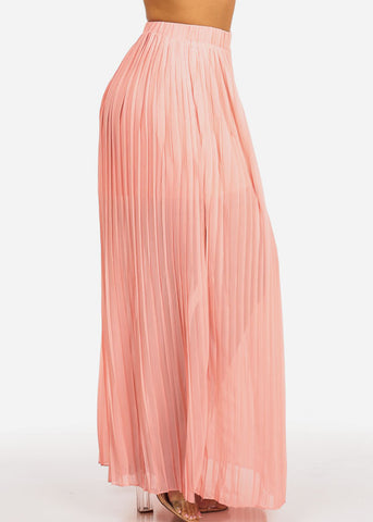 Peach Pleated Maxi Skirt