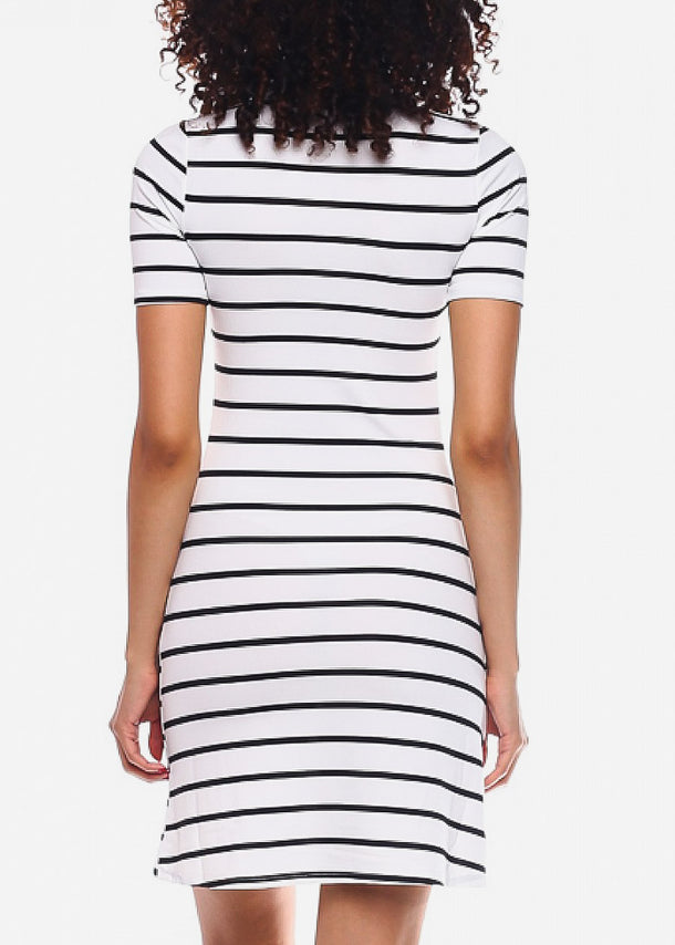 Black Casual Striped Mini Dress