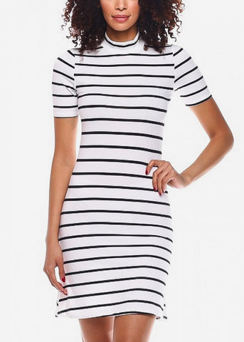 Image of Black Casual Striped Mini Dress