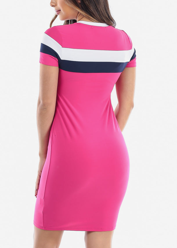 Striped Pink Bodycon Midi Dress