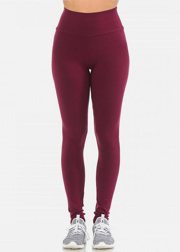 Activewear Pull On Casual Burgundy Leggings
