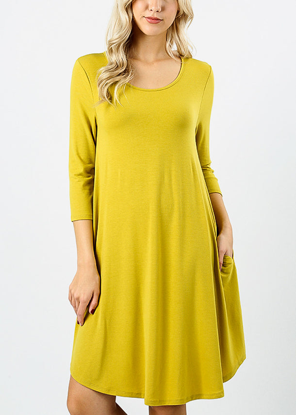 Wasabi Round Hem A-Line Dress