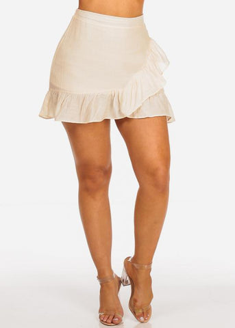Image of Cream Ruffle Partially lined Mini Skirt