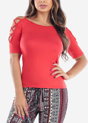 Image of Women's Junior Ladies Casual Strappy Lace Up sleeves Solid Stretchy Red Basic Essential Top