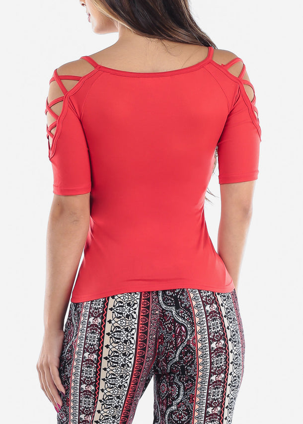 Lace Up Detail Red Top