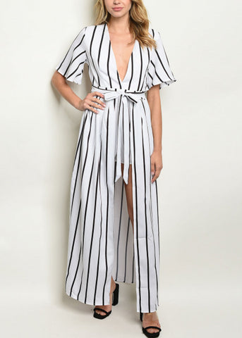 Image of White Striped Maxi Romper