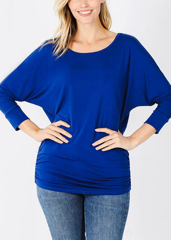 Boat Neck Shirred Navy Tunic Top