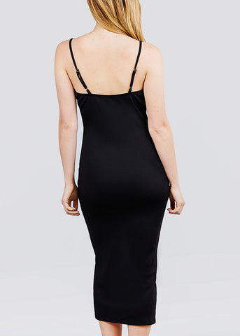 Image of Black Ribbed Cami Midi Dress