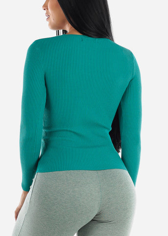 V-Neck Viscose Rib Turquoise Sweater
