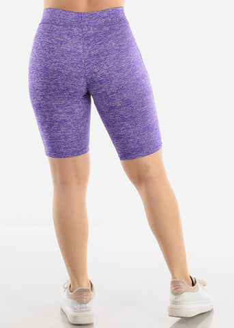 Side Stripes Purple Biker Shorts