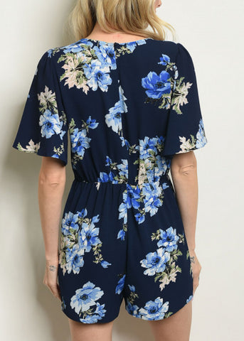 Image of Lightweight Navy Floral Romper
