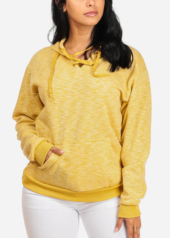 Cute Mustard Sweater W Hood
