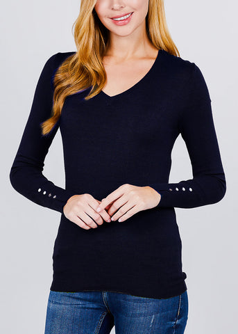 Navy V-Neck Long Sleeve Sweater