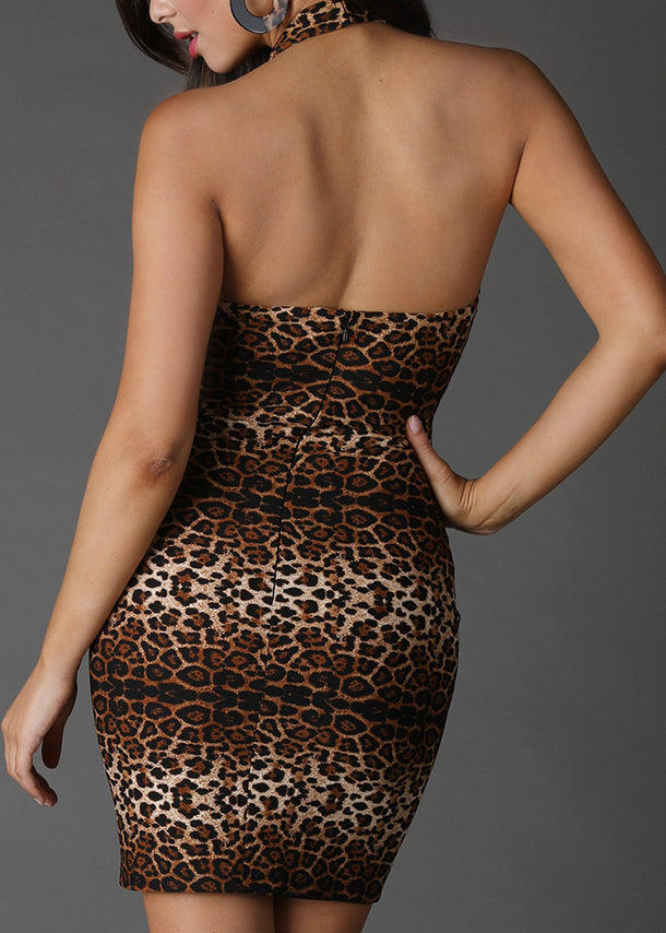 Sexy Halter Animal Print Dress