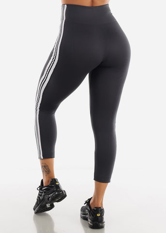 Activewear Stripe Sides Grey Fleece Leggings