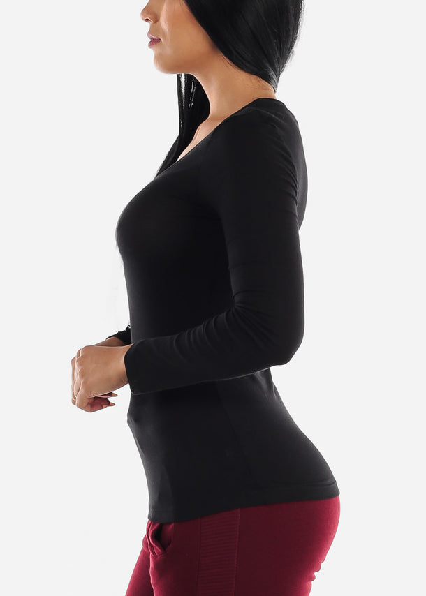 Scoop Neck Long Sleeve Black Basic Top