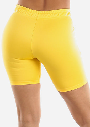 Yellow Track Midi Shorts