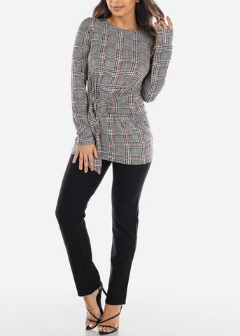 Image of Burgundy Houndstooth Belted Tunic