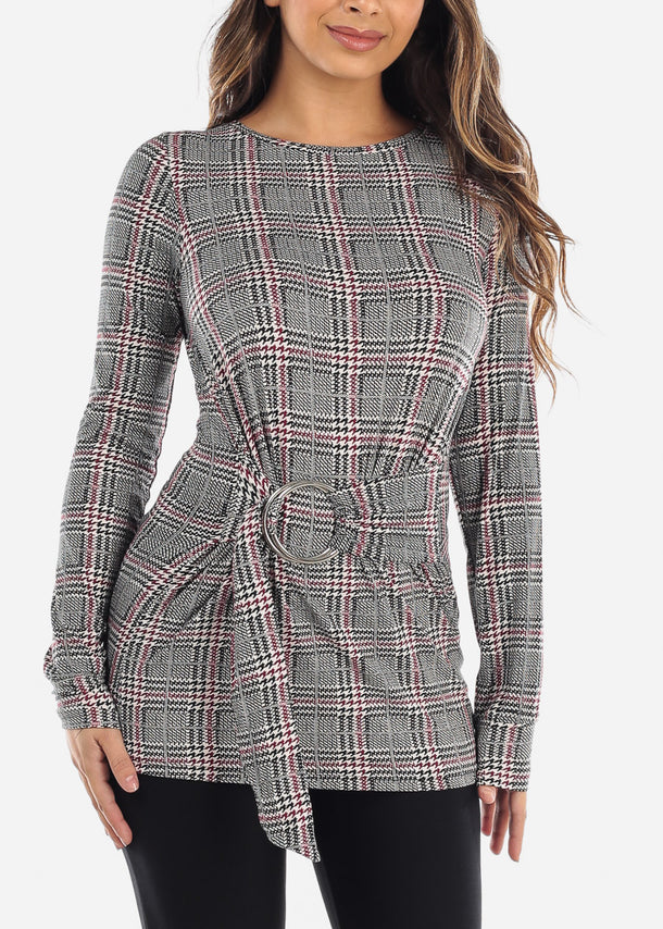 Burgundy Houndstooth Belted Tunic