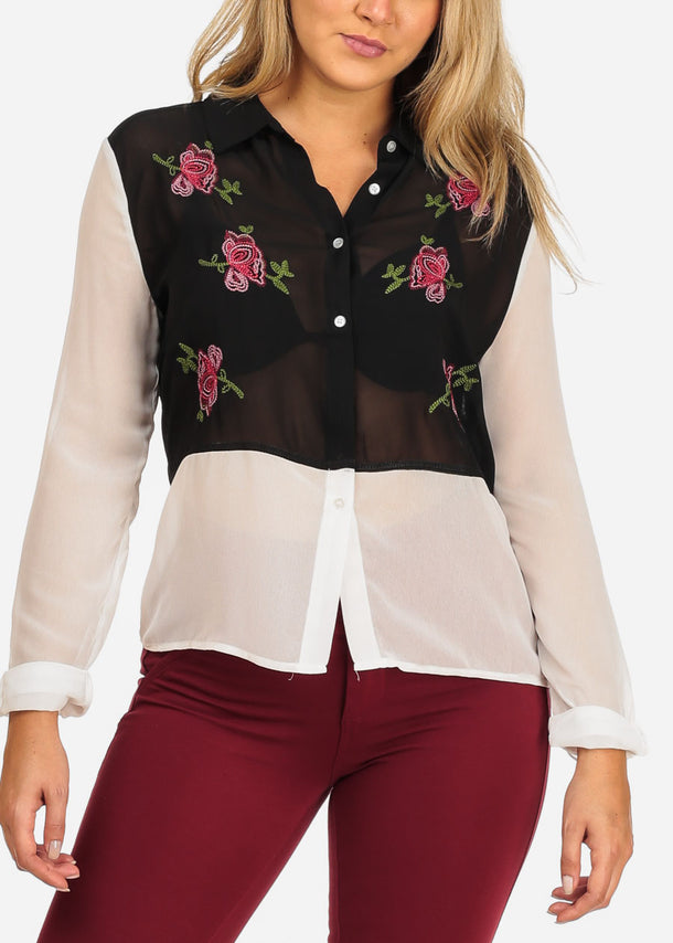 Women's Junior Ladies Stylish Trendy Long Sleeve Two Tone Black And White See Through Floral Rose Embroiled Button Up Top