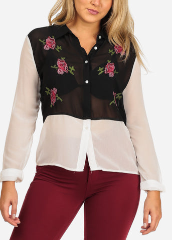 Image of Women's Junior Ladies Stylish Trendy Long Sleeve Two Tone Black And White See Through Floral Rose Embroiled Button Up Top