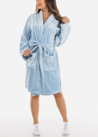 Baby Blue Fleece Robe